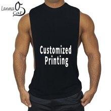 Lanmaocat Bodybuilding Kleding Voor Mannen Losse Fitness Tank Top Bedrukking Open Side Sport Vest Gym Top Gratis Verzending