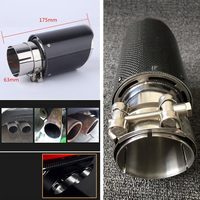 Universal Auto Car Muffler Car Styling 63mm 89mm Real Carbon Fiber Auto SUV Exhaust Pipe Muffler End Tips For Car Gloss