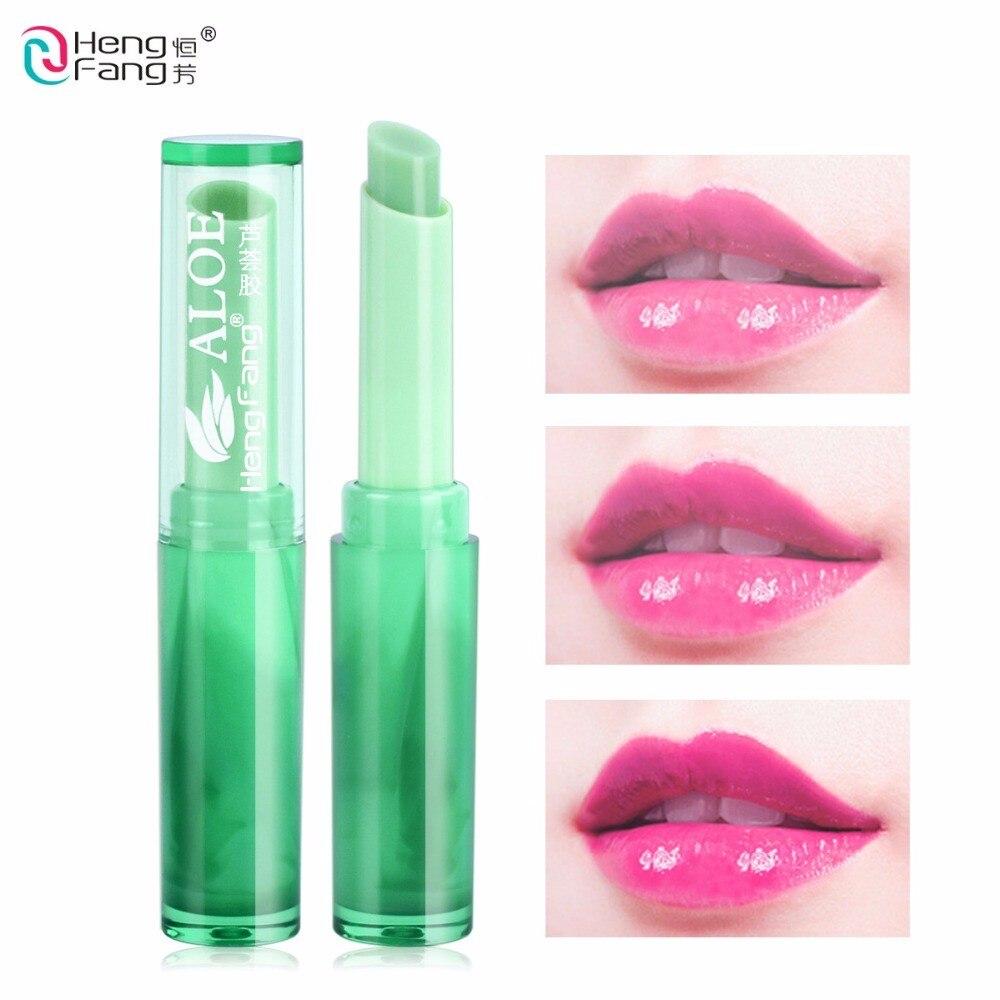 1pcs aloe vera Lip balm green color magic Temperature-changed Moistening maintenance Waterproof Makeup effect lasting TSLM1(China)