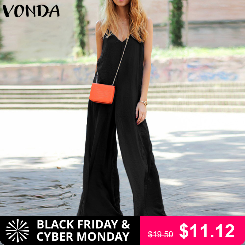 VONDA Rompers Womens   Jumpsuit   2018 Summer Sexy V Neck Strapless Backless Beach Playsuit Wide Leg Pants Plus Size Overalls