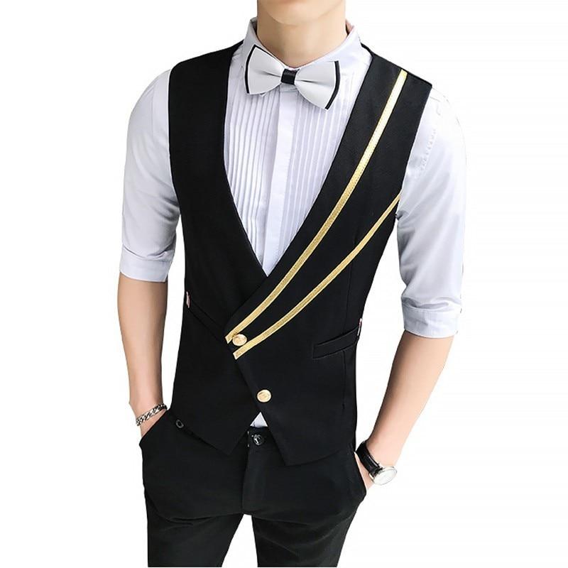 Fashion British Style Oblique Pull Bar Single Row Buckle Vest Waiter Nightclub Vest Work Clothes Vest Man 2019 Chaleco Hombre