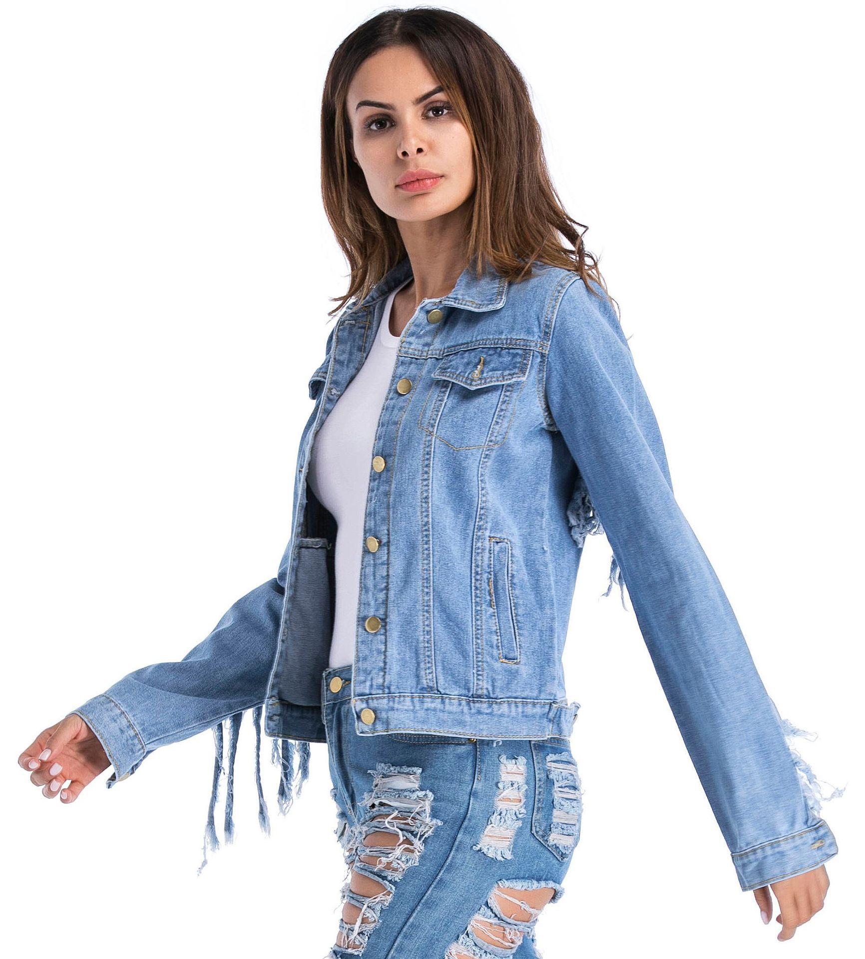 Pour Casual La Manches Taille Godier Manteau Longues 5xl M Vestes Bomber Denim Femme Femmes Plus Coréenne Gland Jeans Veste Zipper Bleu À Vêtements FxwwE6fpqU