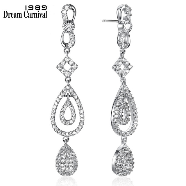 DreamCarnival 1989 Fashion Style Elegant CZ Stones 925 Silver Ladies Love Anniversary Gift Clear White Long Earrings SE08488R