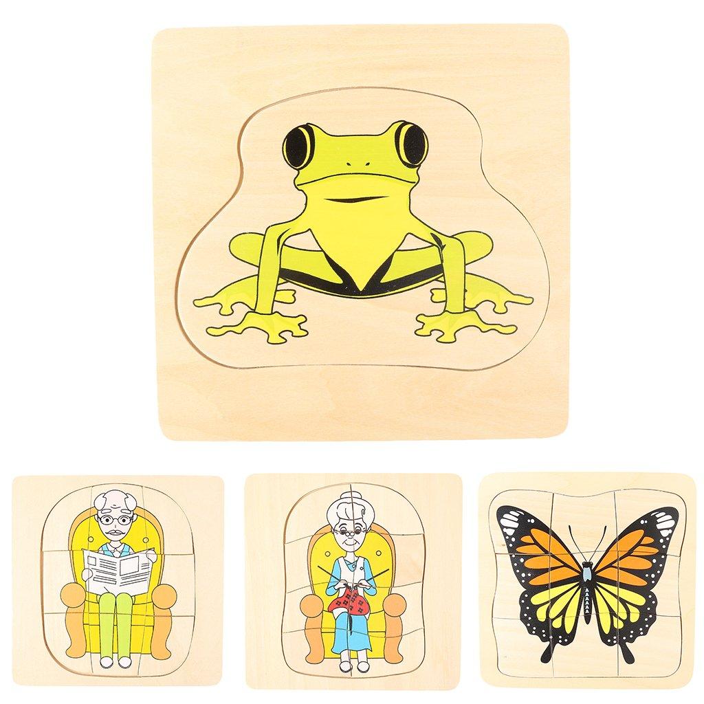 Montessori matériel en bois grenouille et papillon croissance Puzzle Parent-enfant Communication jeu de formation pour enfants enfants - 5