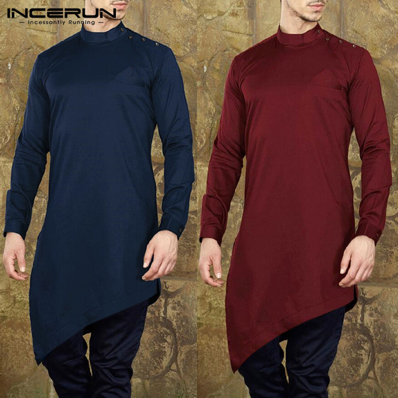 INCERUN Mens Shirts  Suit Long Sleeve Solid Men Long Tops Muslim Islamic Arab Kaftan Casual Irregular Hem Men Clothes 2019
