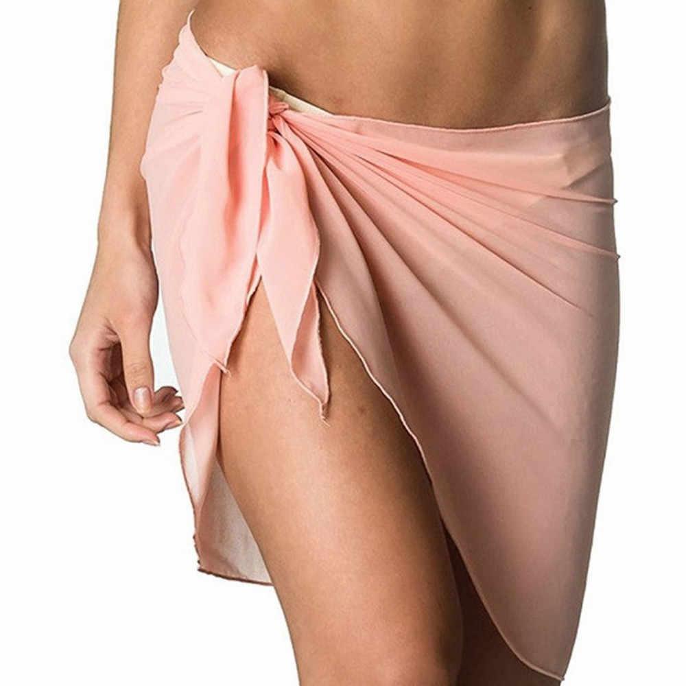 مثير المرأة شاطئ التستر ثوب سباحة مثير التستر تنورة فستان ملابس السباحة التفاف البدلة