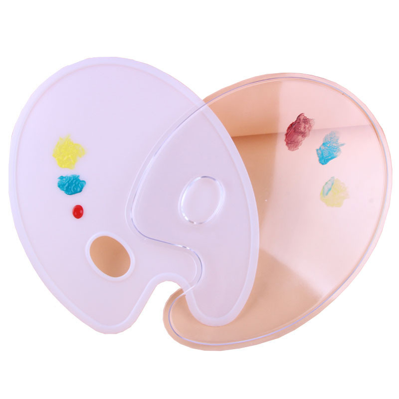 Oval Flat Plastic Palette White/Transparent Multi-function Oil Painting Palette Artist Watercolor Painting Supplies Drawing Tool