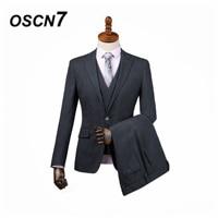 OSCN7 3PCS Vertical stripes Tailor Made Suits Men Gentleman peak lapel Wedding Dress Custom Made Suit Men Fashion Tuxedo DM 020