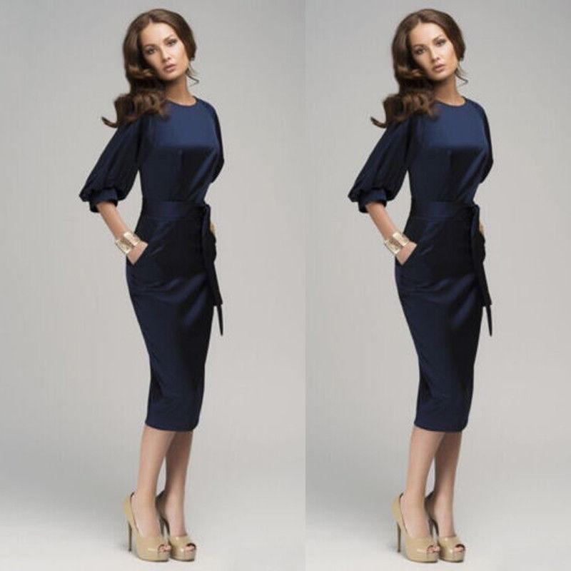 Heißer verkauf Professionelle Damen Smart Kleider Womens Casual OL Business Party Abend Midi Kleid