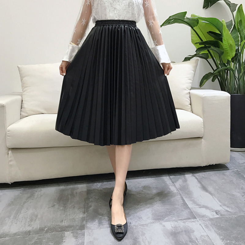 Image 3 - LANMREM 2019 autumn fashion new PU leather pleated skirt elastic high waist all match female's bottoms YF342-in Skirts from Women's Clothing