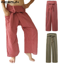 INCERUN Men Thai Fisherman Pants Striped Cotton Vintage Loose Casual Wide Leg Yoga-pants Pockets Joggers Trousers Men 2020 S-5XL