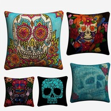 Psychedelic Skull  Flowers Soft Cotton Linen Cushion Covers 45x45cm Vintage Pillowcase For Sofa Home Decoration Almofada цены