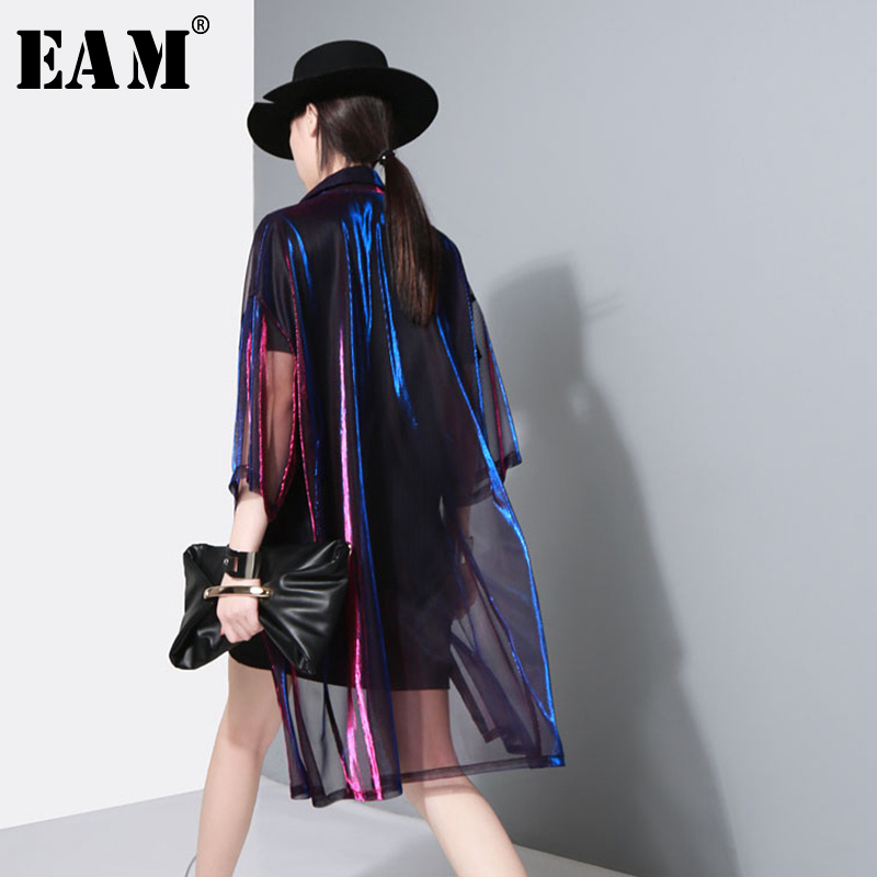 [EAM] 2020 New Spring Summer Lapel Three-quarter Sleeve Green Shing Perspective Loose Big Size Shirt Women Blouse Fashion JU180