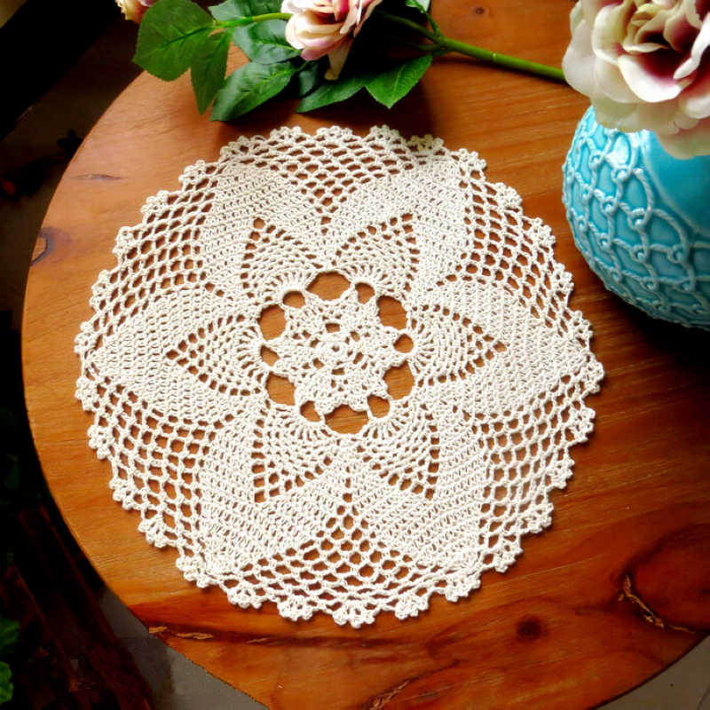 Round Hand Crochet Floral Lace Hollow Table Mat Cloth Doily Coaster Cotton Blend