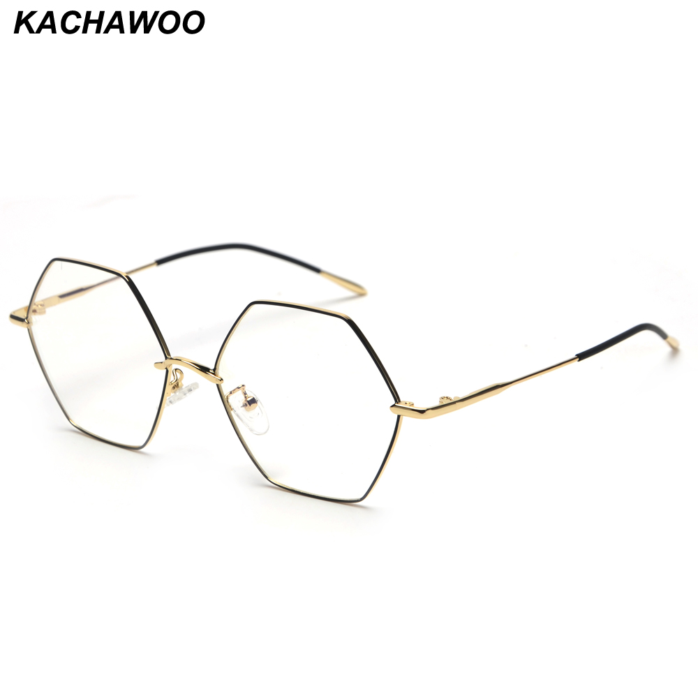 4c819cfe1018 Detail Feedback Questions about Kachawoo Vintage Hexagon Eyeglasses Frames  Men Clear Lens Gold Metal Fashion Glasses Women Optical Unisex Birthday  Gift on ...