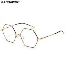 7f19d27bc3 Kachawoo Vintage Hexagon Eyeglasses Frames Men Clear Lens Gold Metal Glasses  Women. Local Return. US ...