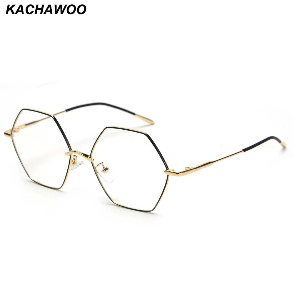 0589658cc Kachawoo Vintage Hexagon Eyeglasses Frames Men Clear Lens Gold Metal Fashion  Glasses Women Optical Unisex Birthday