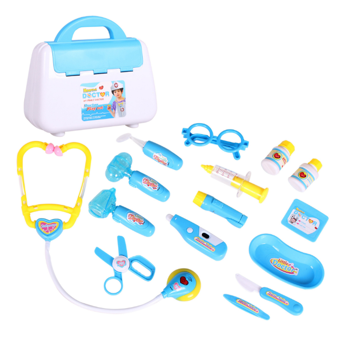 15Pcs Pretend Play Emulational Toy Kit Doctor Echometer Set with Sound Light Education Toys for Children Developing Interest