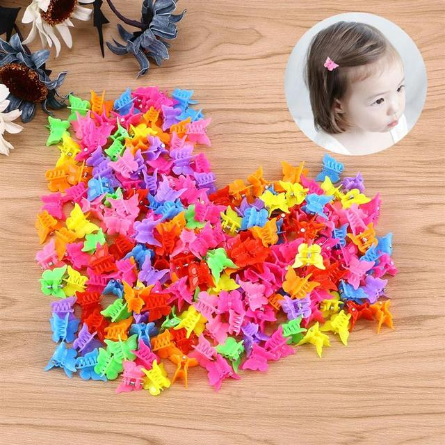 100 Pieces Butterfly Hair Clips Claw Barrettes Mixed Color Mini Jaw Clip Hairpin Hair Accessories for Women and Girls 3