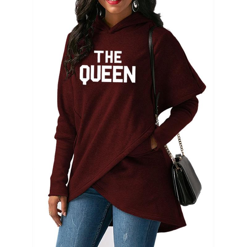2019 New Fashion THE QUEEN Print Sweatshirt Femmes Hoodies Women Tops Sweatshirts Funny Female Casual Loog Sleeve Pullovers