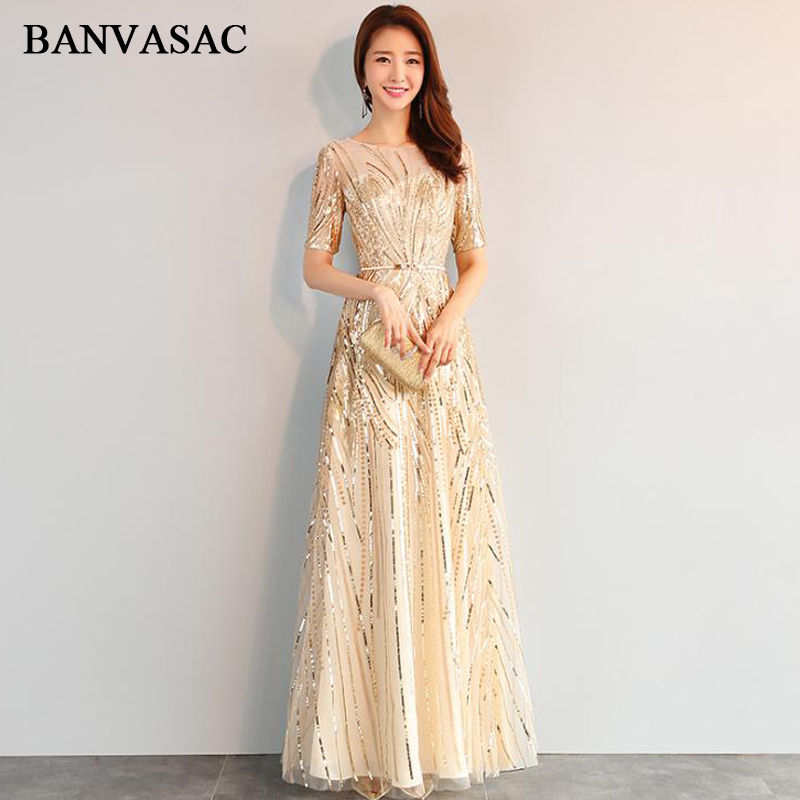 BANVASAC Elegant Illusion O Neck Sequined Long Evening Dresses Party Metal Sash Short Sleeve A Line Prom Gowns in Evening Dresses from Weddings Events
