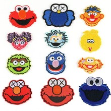 PGY Anime Sesame Street Patch COOKIE MONSTER ELMO BIG BIRD Cartoon Ironing Patches Cheap Embroidered For Kids Clothes
