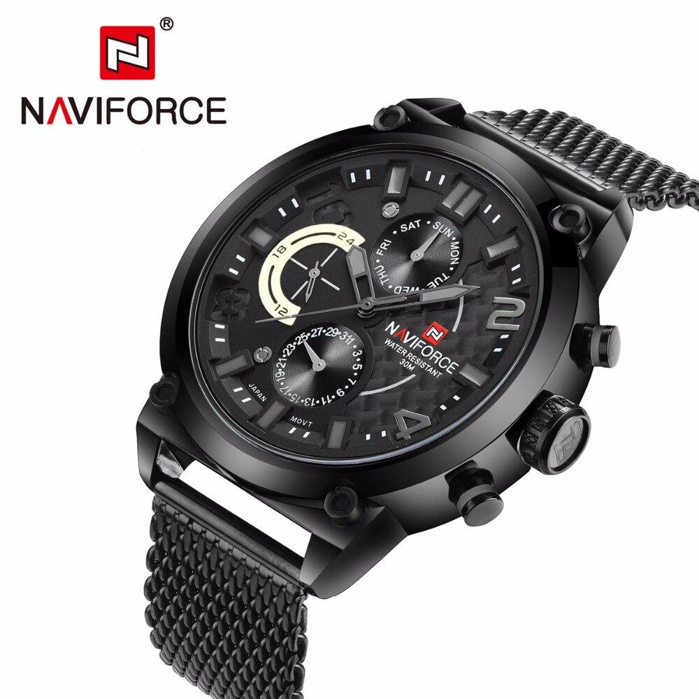 NAVIFORCE, Топ бренд, роскошные часы для мужчин, полностью из нержавеющей стали, кварцевые часы, водонепроницаемые, армейские, военные, спортивны...