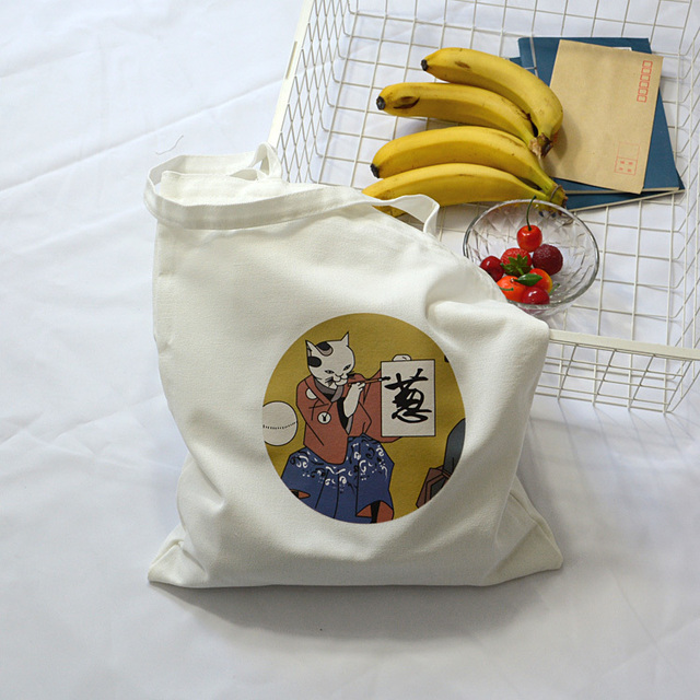 Women's Canvas Bag Cartoon Cat Cloth Shopping Bags Female Large Capacity Shoulder Tote Bag Eco Reusable Shopper Ladies Handbags 3