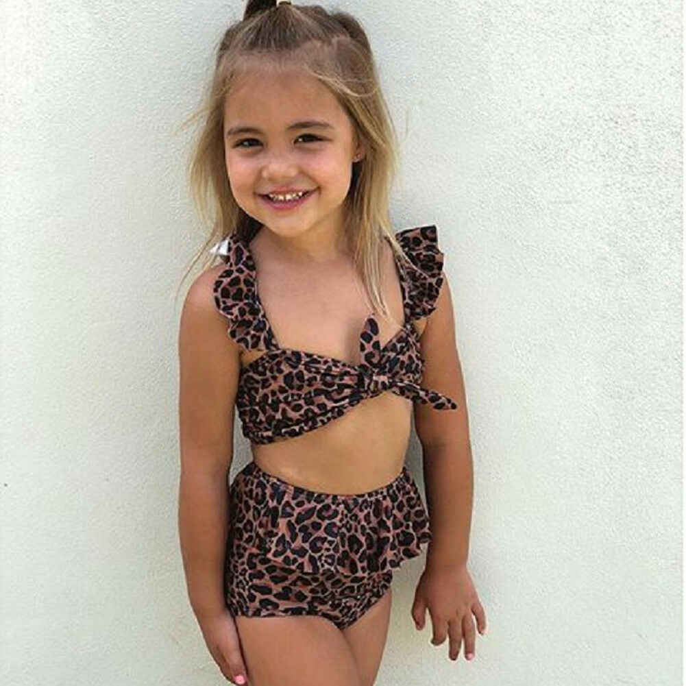 c5aee464f6 2019 New Summer Toddler Kids Baby Girl Leopard Floral Swimming Tops High  Waist Shorts 2PCS Swimsuit