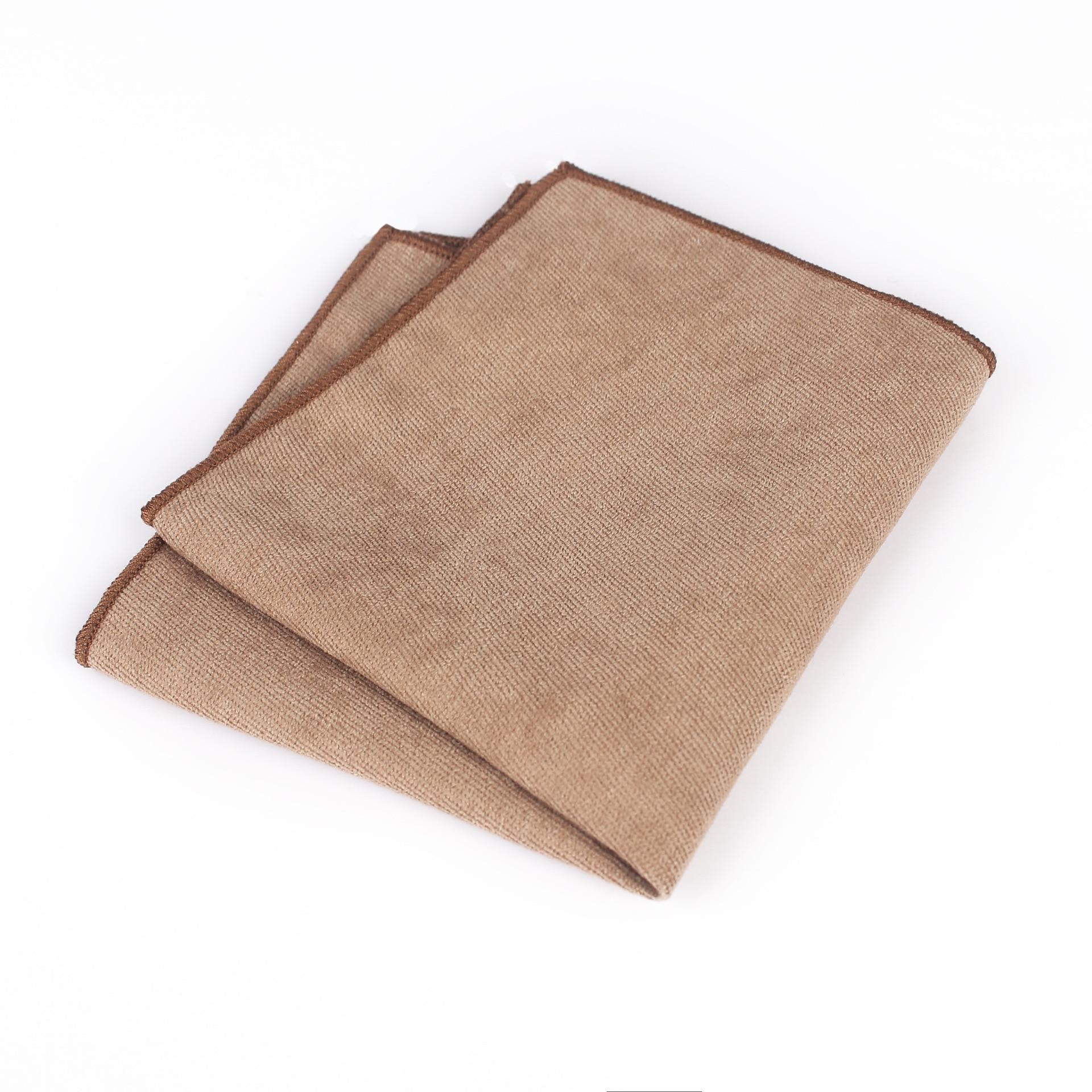 Mantieqingway  24 * 24cm Luxury Men's Deerskin Simple Casual Handkerchief Paisley Solid Color Jacquard Pocket Towel