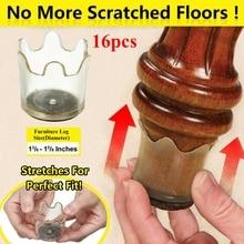 16pcs Silica Gel Chair Leg Caps Furniture Floor Feet Protectors Flexible Floor Protectors Fits Legs 1 3/8-1 5/8