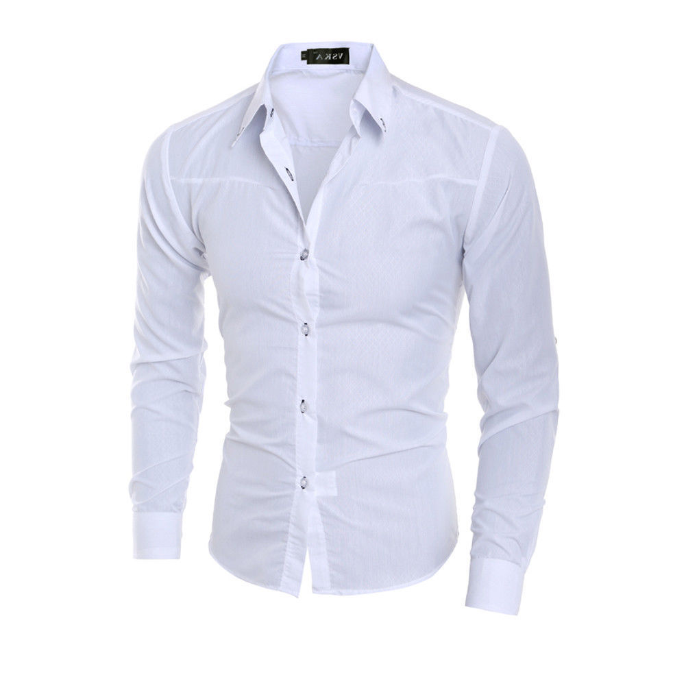 Luxury Men's Stylish 5 Colors Dress Shirt Slim Fit Shirts Formal Long Sleeve HOT Plus Size 3XL