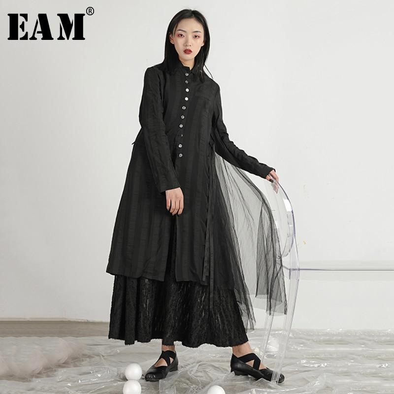 [EAM] 2019 New Spring Summer Lapel Long Sleeve Balck Loose Long Mesh Split Joint Windbreaker Women Trench Fashion Tide JR341