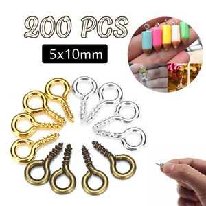 200pcs/lot 5*10 mm Screw Eye Pins For Pendant Iron Screw Eye Hooks Clasps Fit Drilled Beads DIY Jewelry Making 3 colors(China)