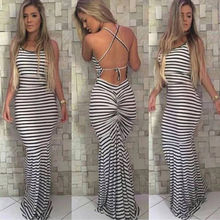 Summer Dresses HOT Women Summer Casual Sleeveless O-Neck High Waist Strappy Striped Long Skinny Dress цена и фото