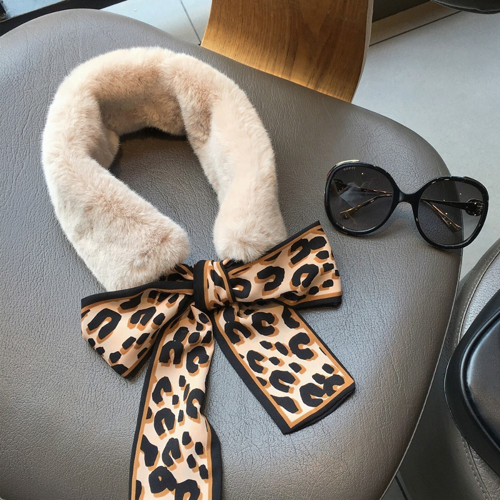 Ins Winter European Leopard Print Faux Fur   Scarf   2019 New Girl Women Luxury Brand Skinny Silk   Scarf   Neckerchief   Scarves     Wraps