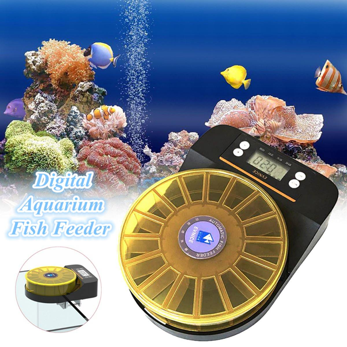 Distributeur automatique de nourriture pour poissons Aquarium numérique réservoir de poissons mangeoire en plastique minuterie électronique multitreillis goutte alimentation alimentation 200g