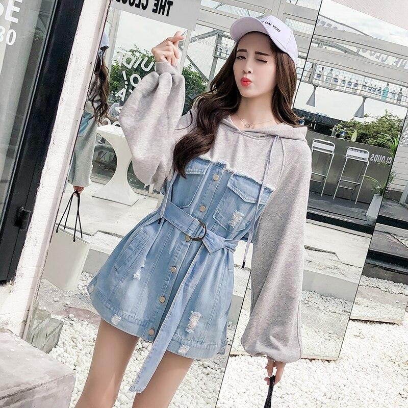 Pull à capuche d'automne robe pull femme ceinture simple bouton Patchwork robe en jean à manches longues déchiré robe en Jeans pour les femmes