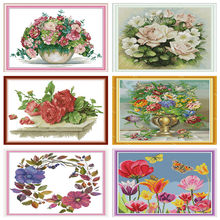 Cross Stitch Patterns Water Soluble Canvas Cross Stitch Flowers Kits Embroidery Needlework Sets Cross-Stitch Tambour Broderie(China)