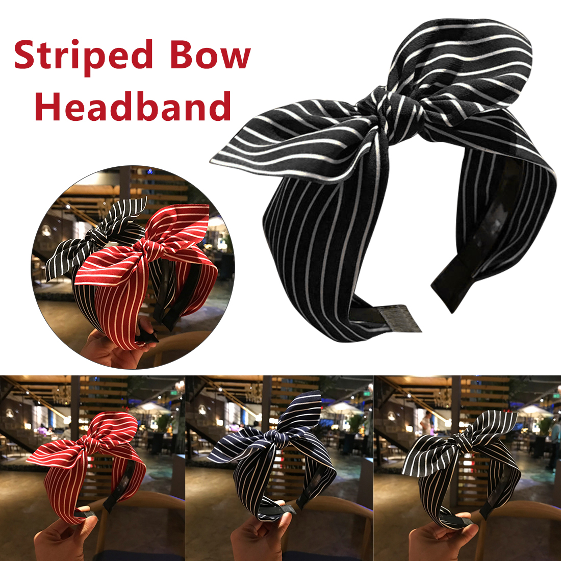 Cute Striped Print Hairbands Knot Headbands for Women Girls Head Bands New Fashion Rabbit Ears Bow Hair Accesories