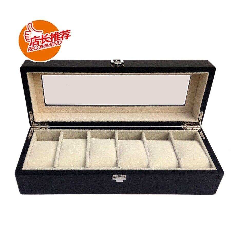 6 boîtiers en bois peint boîte de montre en bois peint par pulvérisation montre boîte de rangement boîte de montre-bracelet 6 boîtiers de montre en bois
