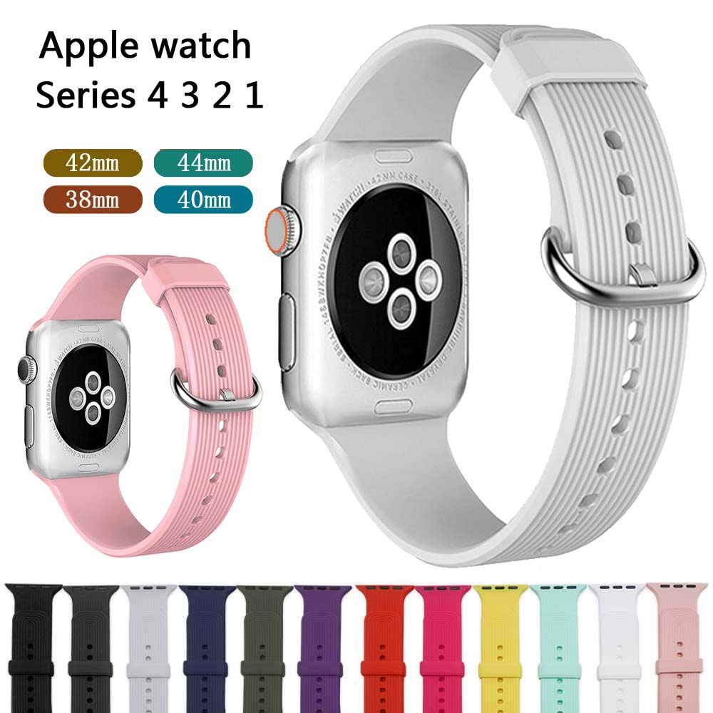 Silicone band For Apple watch series 4 3 2 correa aple watch 42mm 44mm sport rubber strap bracelet wrist belt Iwatch accessoriesSilicone band For Apple watch series 4 3 2 correa aple watch 42mm 44mm sport rubber strap bracelet wrist belt Iwatch accessories