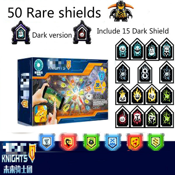 Nexoe Knights Game Rare Shields Model Building Blocks Castle Warrior Nexus Toys For Children Compatible Legorreta Game Scannable