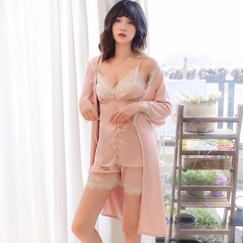 2019 Summer Women Pajamas Sets With Pants 5 Pieces Satin Sleepwear Pijama Silk Sleep Lounge Pyjama Nightwear With Chest Pads in Pajama Sets from Underwear Sleepwears