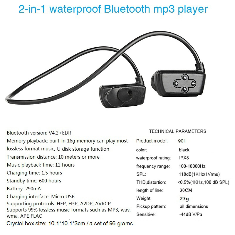 Newest 901P Bluetooth Waterproof Swimming Outdoor 16G Hifi Ipx8 Sport Mp3 Music Players in Bluetooth Earphones Headphones from Consumer Electronics