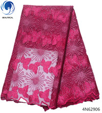 Beautifical korea lace fabric soft african for dress embroidery style 5yards/lot pink clothing 4N629