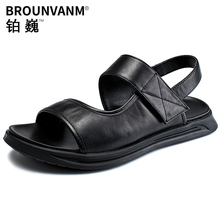 Rome Style Men Sport Sandals Soft Genuine Leather Summer Outdoor Casual Shoes Cool Hook Loop