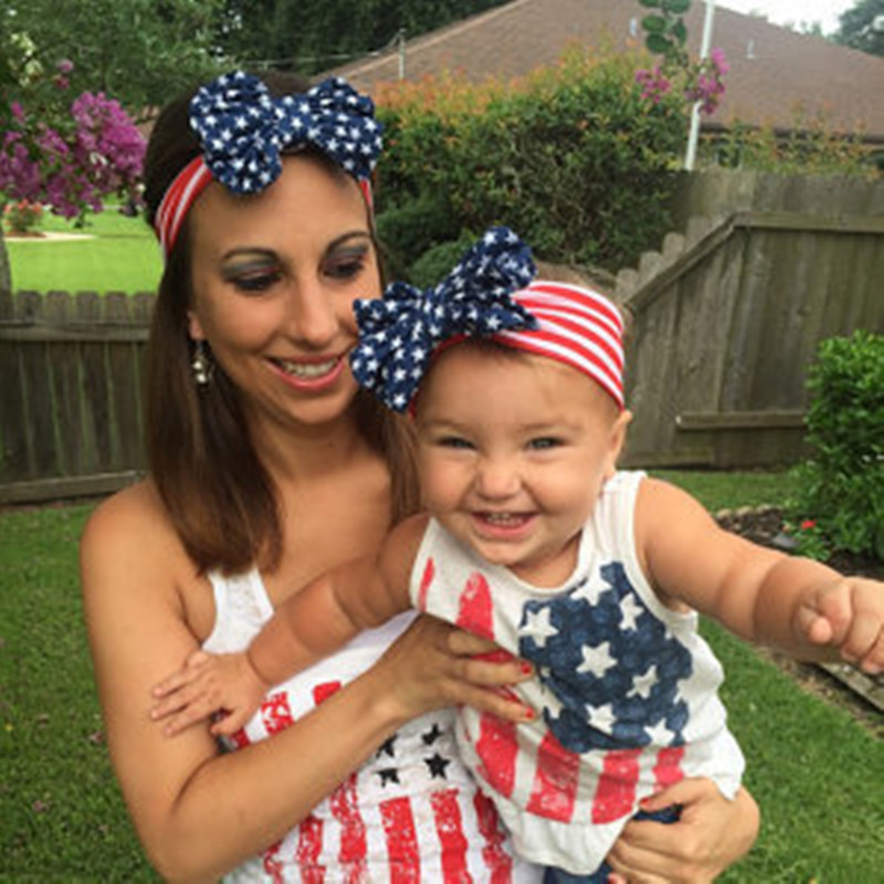 2017 Hot Sales Mom and Me Turban Hodetelefoner American Flag 4. juli Girls and Mommy Headwrap Gifts1Sett 2pcs / lot