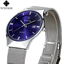 New Fashion top luxury brand WWOOR watches men quartz-watch stainless steel mesh strap ultra thin dial clock relogio masculino