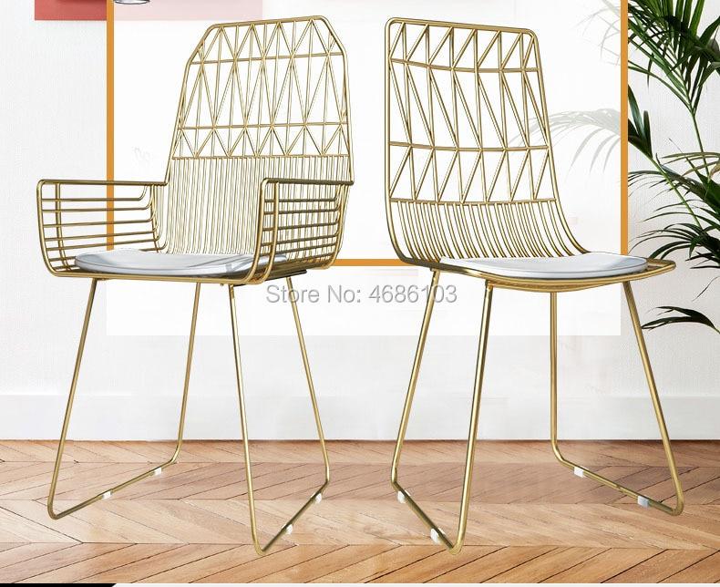 1 Pc Fashion Nordic Stoel Luxe Gold Iron Make-up Stoel Rugleuning Moderne Floor Stoel Woonkamer Stoel Thuis Slaapkamer Meubels